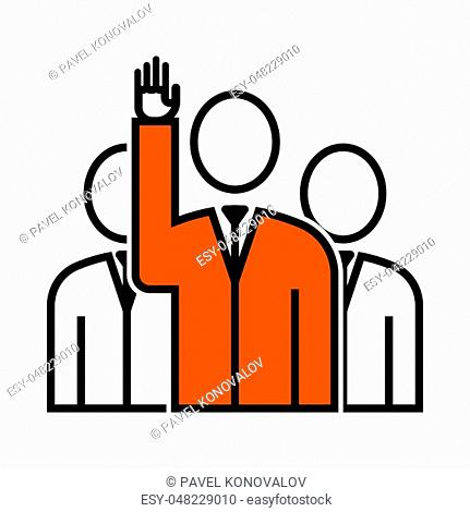 Voting Man With Men Behind Icon. Thin Line With Orange Fill Design. Vector Illustration
