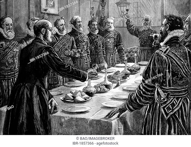 The opening of Parliament, yeoman of her majesty's bodyguard drinking to the queen's health after searching the basement of the Houses of Parliament, London