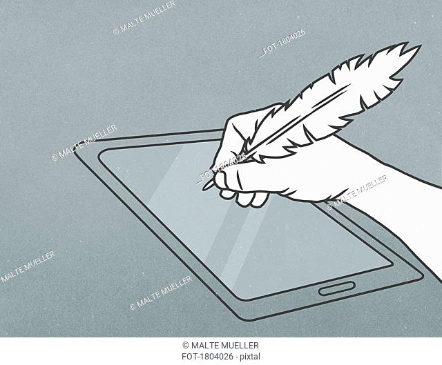 Hand with feather quill pen writing on digital tablet