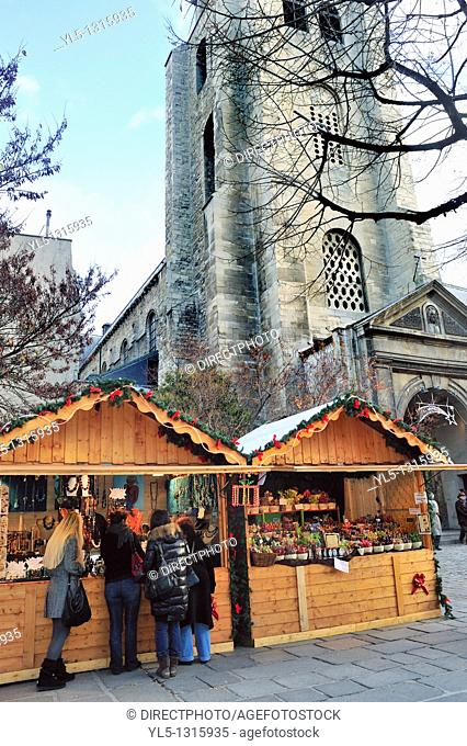 Paris, France, Christmas Shopping, Women at Traditional Christmas Market, Saint Germpain des Prés Church, Latin Quarter
