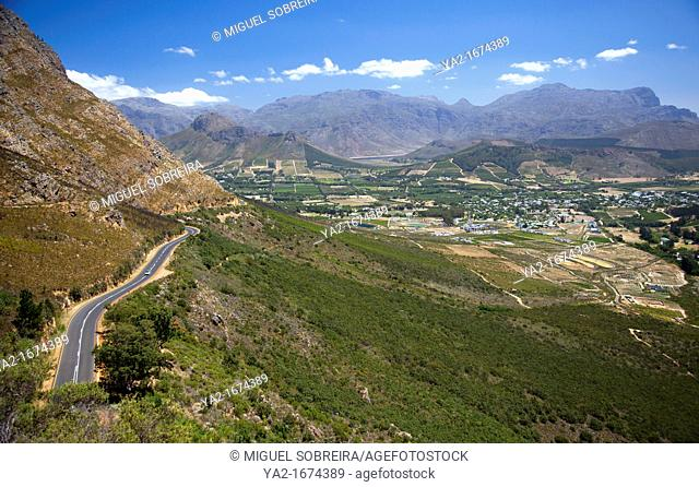 Lambrechts Rd R45 into and from Franschhoek Valley towards Threewaters Reserve in Western Cape - South Africa