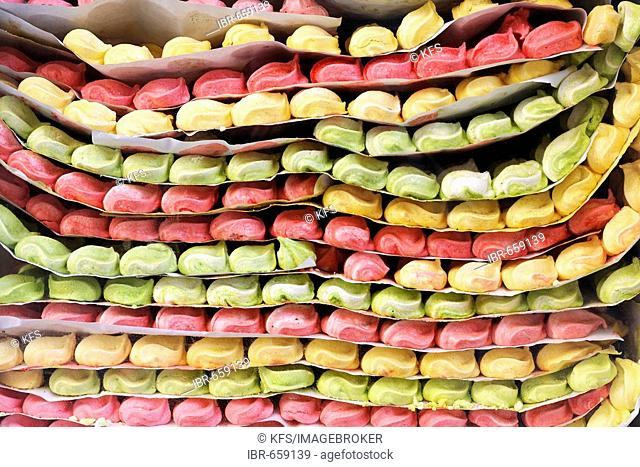 Colourful candy layered in a shop window, historic Medina quarter, Marrakesh, Morocco, Africa