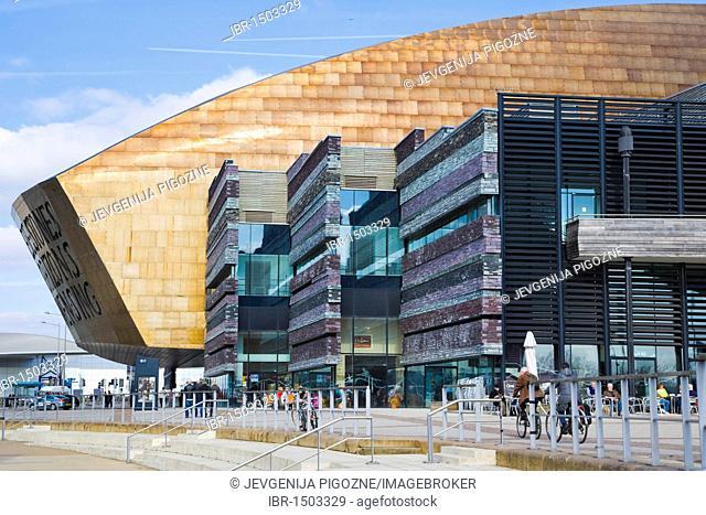 Wales Millennium Centre or Canolfan Mileniwm Cymru, from Roald Dahl Plass, public plaza, Cardiff Bay, Cardiff, Caerdydd, Wales, United Kingdom, Europe