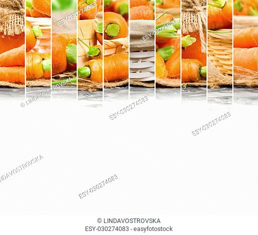 Photo of fresh carrot abstract horizontal mix with basket and puree glass; healthy eating; white space for text
