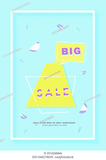 Big Sale vertical banner. Promotion card for social media posts. Abstract geometric background with frame and speech bubble shape
