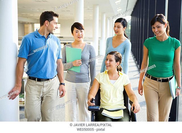 Centro de Investigación Fatronik, Parque Tecnológico de San Sebastian, Donostia, GipuzkoaBasque Country, Spain. Business people. Woman in wheelchair