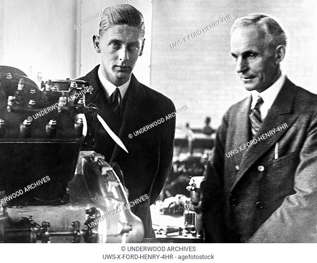 Detroit, MIchigan: 1926. Henry Ford gives Prince Nicholas of Romania a tour of the automobile plant