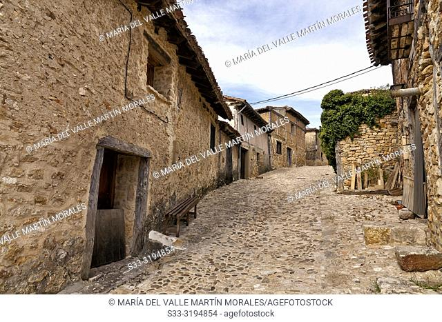 Old medieval houses at an alley in calataniazor. Soria. Castilla León. Spain. Europe