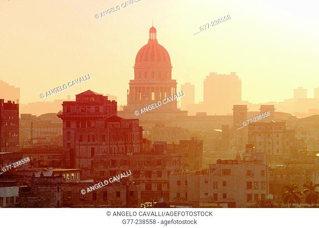 The city and the Capitol. Havana. Cuba