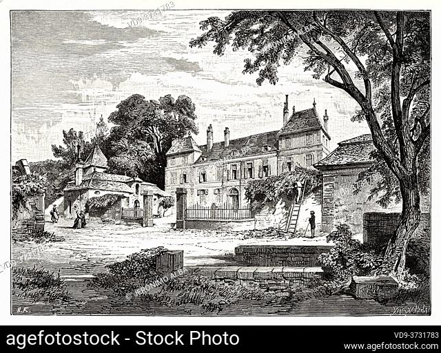 Chateau de Coppet. Castle of Coppet, Canton of Vaud. Switzerland. Old XIX century engraving illustration. Les Français Illustres by Gustave Demoulin 1897