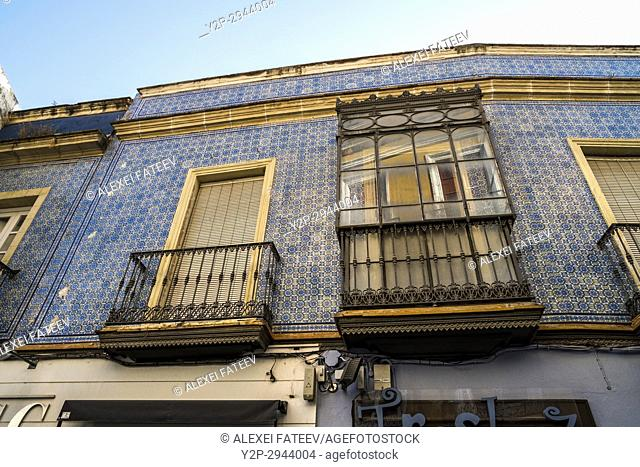A house in Jerez de la Frontera decorated with azulejos. Andalucia, Spain