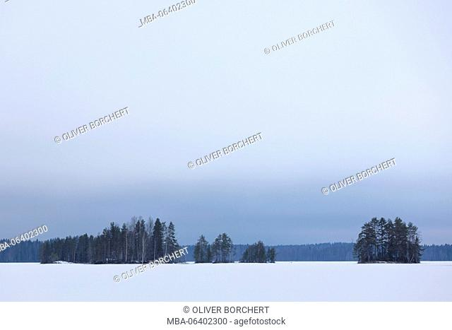 Finland, Saimaa area, landscape with snow and trees in winter