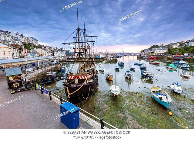 Replica of the English galleon, Golden Hind, in Brixham harbour, South Devon, England, United Kingdom, Europe