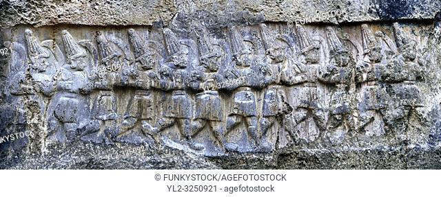 Sculpture of the twelve gods of the underworld from the 13th century BC Hittite religious rock carvings of Yazilikaya Hittite rock sanctuary, chamber B, Hattusa