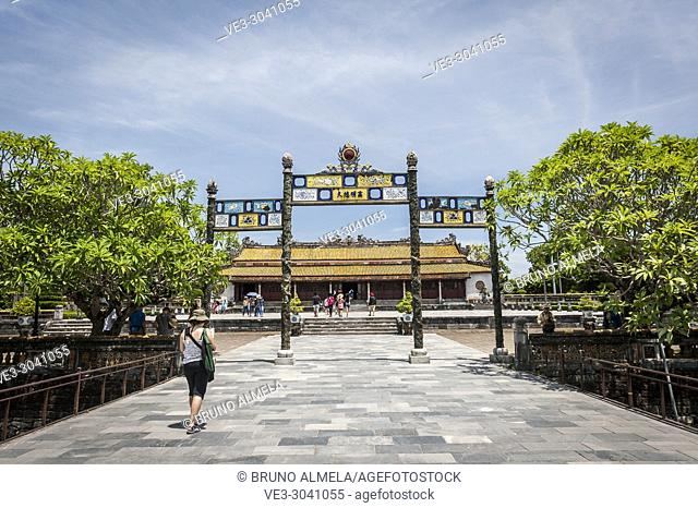 Entrance of Thai Hoa Palace in Hue Imperial City (Thua Thien-Hue province, Vietnam)