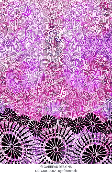 Pink and purple intricate design