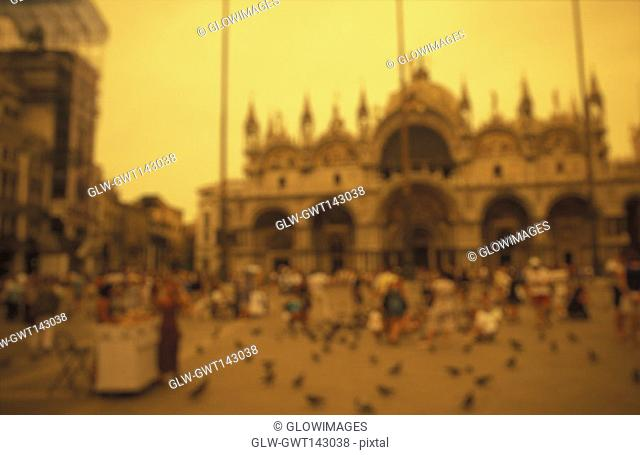 Group of people in front of a cathedral, St. Mark's Cathedral, Venice, Veneto, Italy