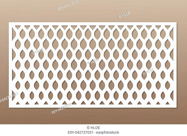 Template for cutting. Classic, geometric pattern. Laser cut. Ratio 1:2. Vector illustration