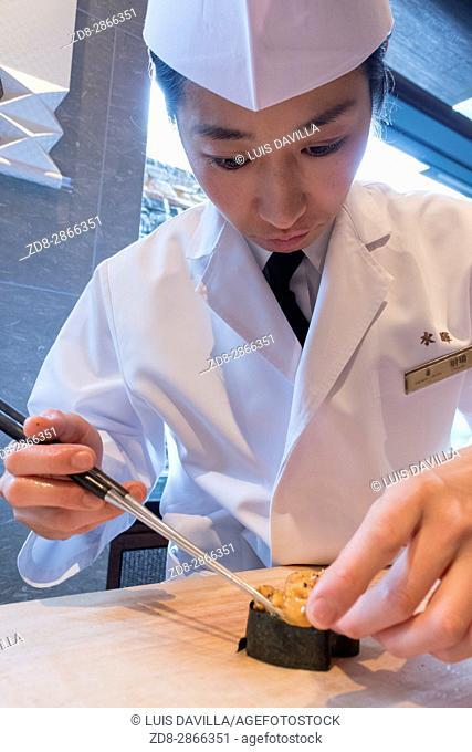 Mizuki is a Japanese restaurant, featuring four kinds of cuisine - featuring Kaiseki - Japanese traditional haute cuisine, Sushi, Tempura and Teppanyaki