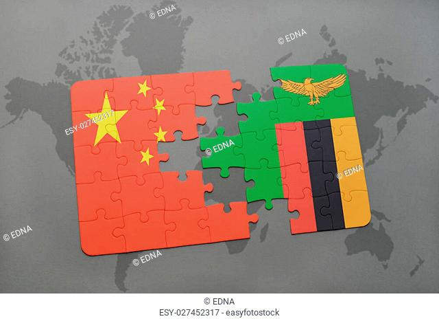 puzzle with the national flag of china and zambia on a world map background. 3D illustration