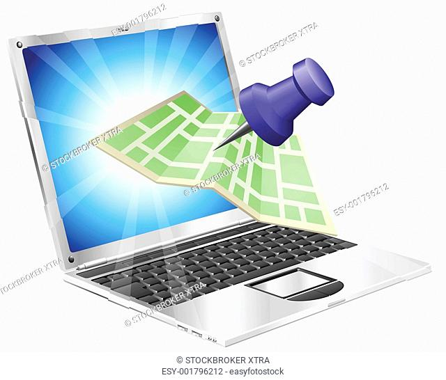 A road or city map flying out of a laptop computer. Concept or icon for map app or internet website with maps or other GPS related