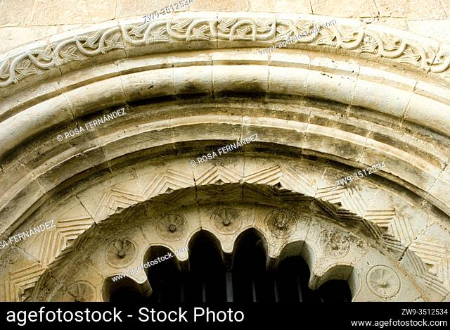 Facade and main door, detail of archivolts, Church of Saint Pedro Apostle, in Romanesque and Renaissance Styles, Villacadima, province of Guadalajara