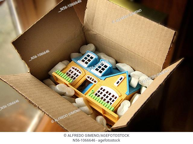 Toy house in box
