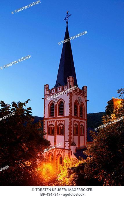 Church of St. Peter at dusk, Bacharach, Rhineland-Palatinate, Germany