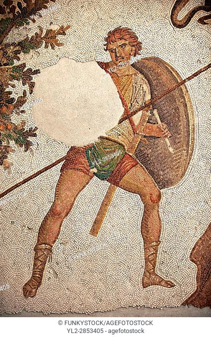 6th century Byzantine Roman mosaics of a hunter from the peristyle of the Great Palace from the reign of Emperor Justinian I. Istanbul, Turkey