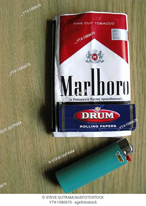 Packet of Greek Marlboro Tobacco, Rolling Paper and Lighter