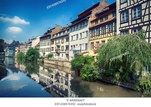 view from water canal in old center of Strasbourg