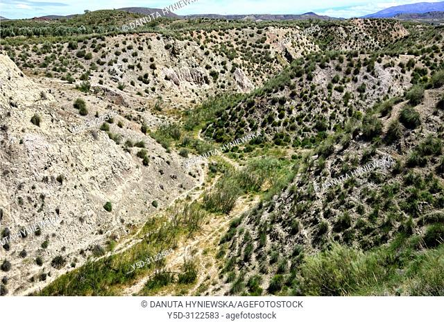 Landscape of Altiplano region of Granada, Granada High Plains, view from Freila in direction of Sierra de Castril, near the city of Baza, Granada province