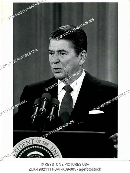 Nov. 11, 1982 - East Room Press Conference Washington, D.C.: President Ronald Reagan is shown responding to questions during a Nationally televised new...