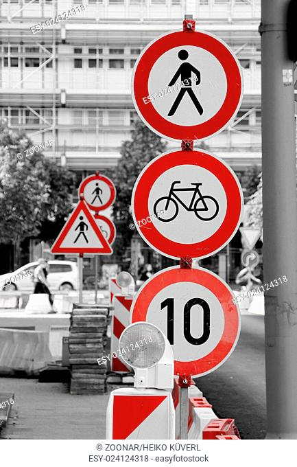 traffic signs at a construction site in downtown Berlin