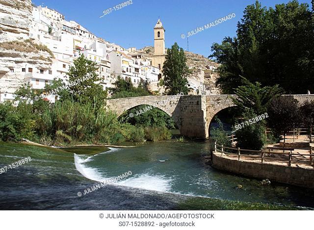 Puente Romano de Alcalá del Jucar and fund the Parish Church of Albacete, Castilla La Mancha, Spain