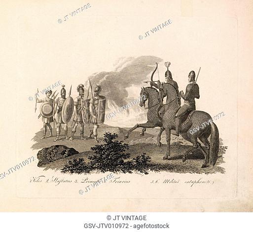 Veles (Roman Infantryman), Emperor, versus Armored Soldiers, Ancient Rome, Engraving, G. Dobler, 1819