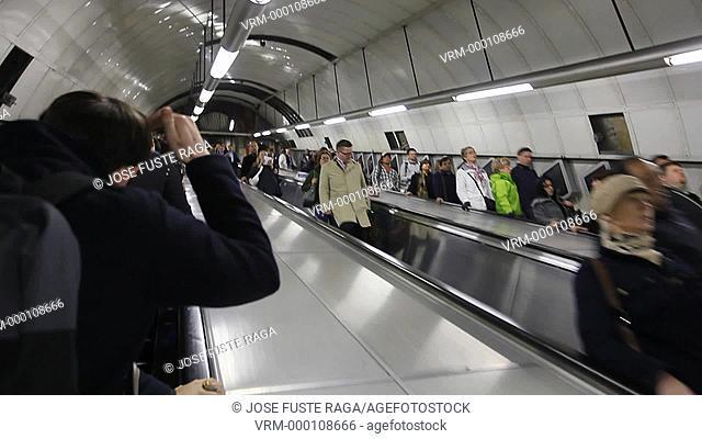 UK, London City, Subway station , escalator