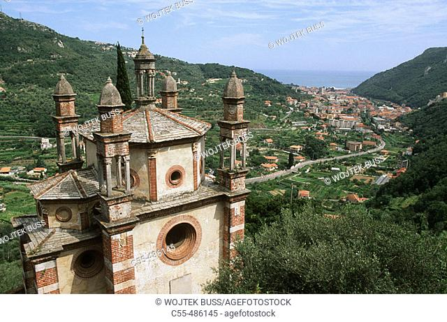 Church of the five bell towers (aka Church of Our Lady of Loreto), Finale Ligure. Liguria, Italy