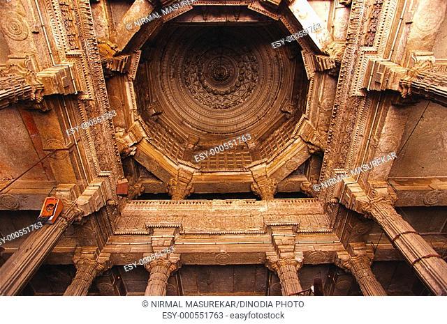 Pillars and ceiling at Jami masjid , Ahmedabad , Gujarat , India