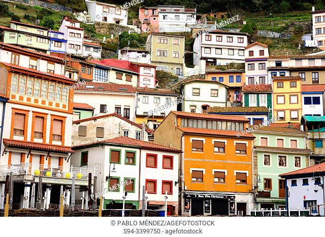 Facades from the main square of Cudillero, Asturias, Spain