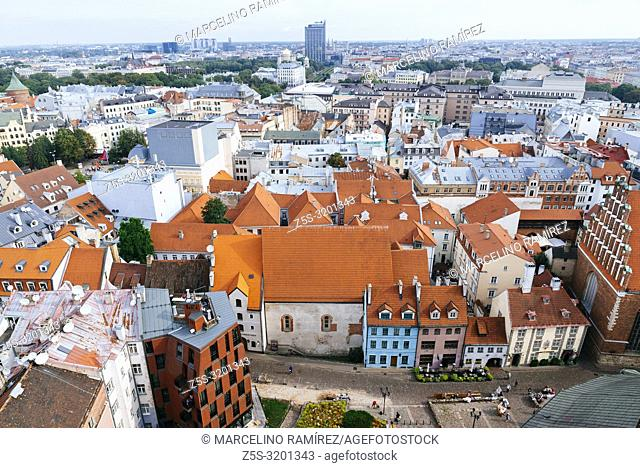 Riga old town from St. Peter's Church. Riga, Latvia, Baltic states, Europe
