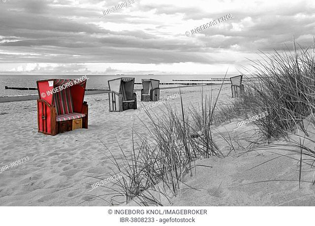 Roofed wicker beach chairs on the beach, colour key, Warnemünde, Mecklenburg-Vorpommern, Germany
