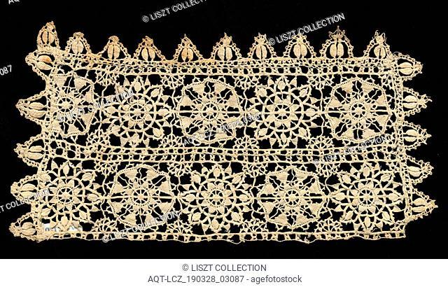 Lace Insertion, 1560-1600. Italy, Genoa, 16th century. Linen; lace, open cutwork (reticella) and bobbin; average: 13.4 x 24.8 cm (5 1/4 x 9 3/4 in.)