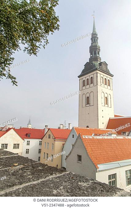 Church and Houses in Tallin, Estonia