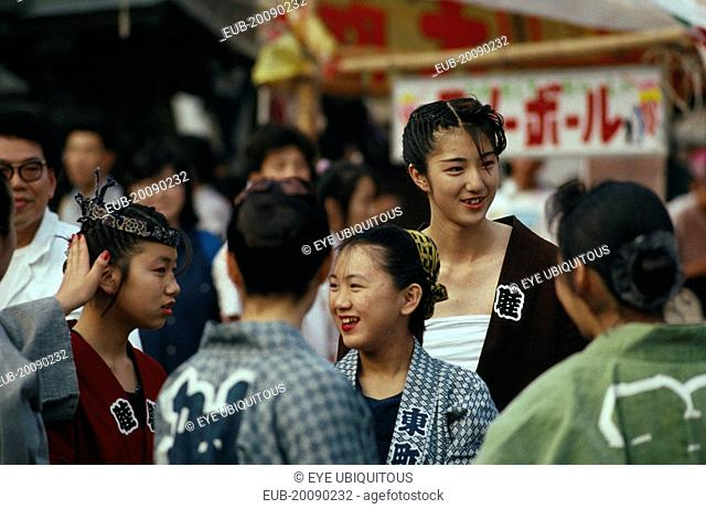 Chiba. Narita. Gion Matsuri Festival. Young women 20 years old wearing traditional costume