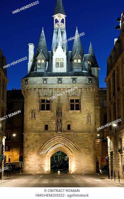 France, Gironde, Bordeaux, area listed as World Heritage by UNESCO, Porte Cailhau built on the end of the 15th century