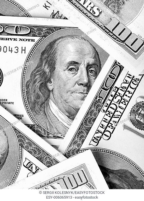 Franklin's portrait on dollar bills close-up