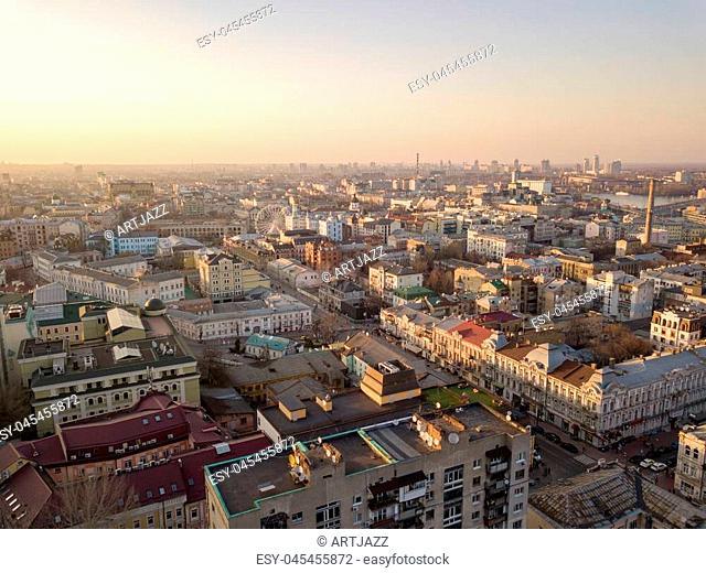Aerial panoramic view from the drone to the oldest district of Kiev - Podol, Kontraktova Square, Sahaidachnoho street, the Havana bridge
