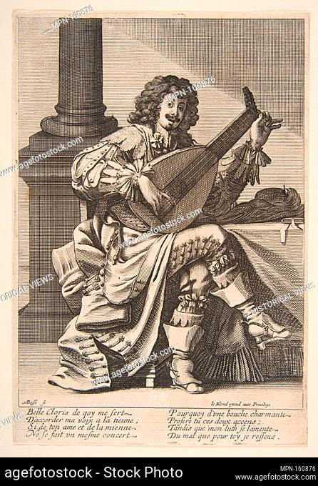 Man Singing and Playing a Lute. Artist: Abraham Bosse (French, Tours 1602/1604-1676 Paris); Publisher: Jean I Leblond (French, ca