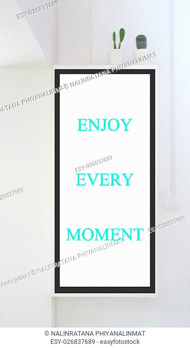 Room interior with frames on white wall, stock photo